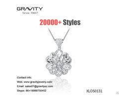 Custom Design Sweater Chain White Gold Plating Flower Shape Pendant Necklace Jewelry For Party