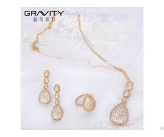Uxury Style Dubai 18 Carat Gold Plated Jewellry Sets With Cubic Zirconia