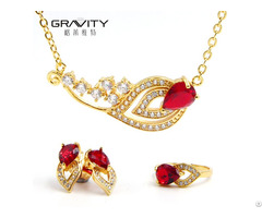 Fashion Luxury Dubai 18k Gold Plated Red Ruby Jewelry Set For Women