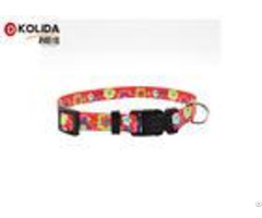 Eco Friendly Nylon Reflective Black Red Dog Collar And Leash Size S M L