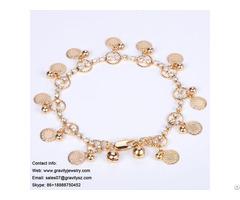 Latest 2018 Fashionable Delicate Bangles 18k 24k Vermeil Gold Charms Pendant Bracelet