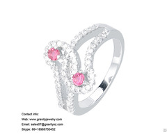 Wholesale 18k White Gold Aaa Cubic Zirconia Pink Diamond Solid Heart Engagement Finger Ring