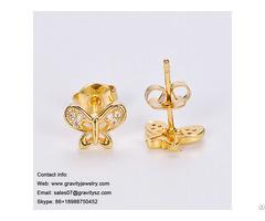 Factory Direct Wholesale Butterfly Sharp 18k Gold Beautiful Designed Earring For Women