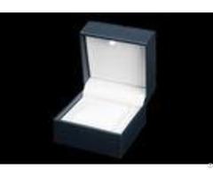 High Grade Plastic Single Watch Box Dark Blue Internal White Pu Material