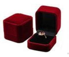 Hard Plastic Ring Jewelry Box Flannelette Velvet Covered Screen Printing 54 58 43mm