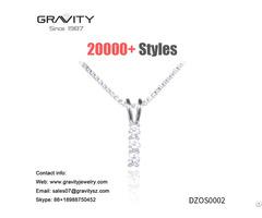 Wedding Costume Jewelry Statement Choker Silver Long Princess Cut Diamond Pendant Necklace