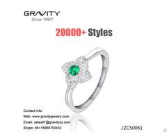 Wholesale Latest Custom Saudi Arabia 18k White Gold Plated Green Aaa Zircon Ring Jewelry