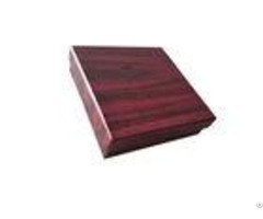 Deep Red Wood Color Lid And Base Boxes With Velvet Surface Inner 1200gsm Cardboard