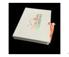 White Paperboard Ribbon Closure Folding Gift Boxes Individual With Cover Lamination
