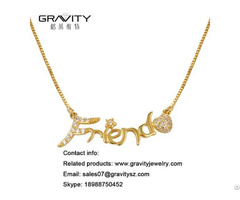 Fashion Jewelry Custom 18k Gold Plated Name Necklace With Cubic Zirconia