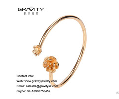 Wholesale Latest Custom Designs In 18k Natural Rose Quartz Gold Plated Open Bangle Jewelry For Women