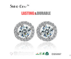 New Design Women Jewelry Elegant Round Cz White Gold Stud Earrings