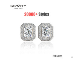 Latest Fancy Style Designer With Crystal Stone Big Diamond 925 Sterling Silver Stud Earring