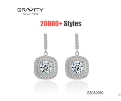 Custom Handmade Drop Cz Diamond Real Sterling 925 Silver Plated Studs Earrings