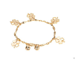 Custom Handmade Jewelry 14k Gold Bracelet Women Four Leaf Clover