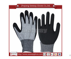 Seeway B515 Cut Resistance Hdpe Sandy Nitrile Coating Work Glove En388 Used In Construction Industry