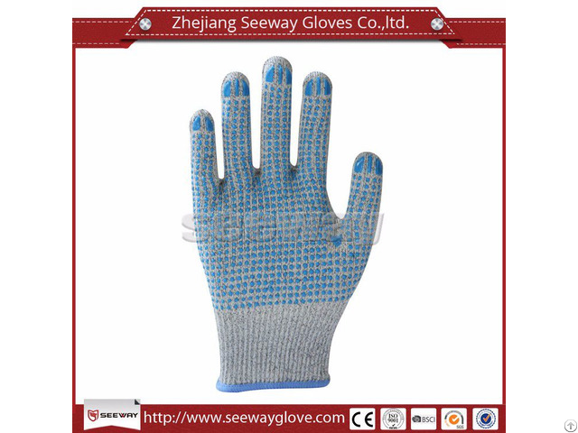 Seeway B508 D Hhpe Glass Fiber Pvc Dotted Safety Anti Cut Glove En388 Level 5 Protection