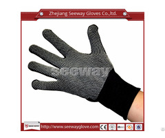 Seeway 801 D Polyester Knitting White Pvc Dots Anti Slip And Abrasion Work Safety Gloves