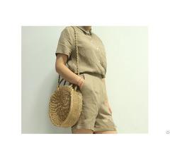 Crochet Beach Straw Handbag Handwoven Inner Mobile Pocket Shoulder Bag #h210
