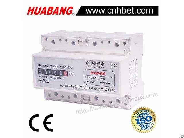 Three Phase 4 Wire Register Display Din Rail Kwh Meter
