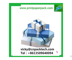 Customized Square New Year Gift Box Present Packaging Boxes With Color Ribbon