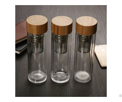 Insulated Glass Infuser Tumbler Water Drinking Bottle With Bamboo Lid