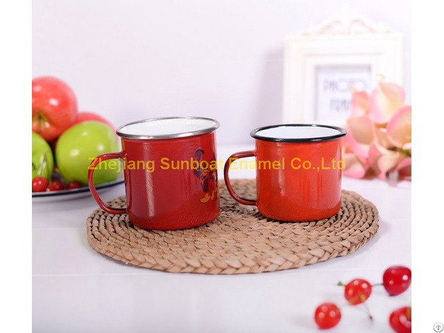 Customized Logo Printed Enamel Mug
