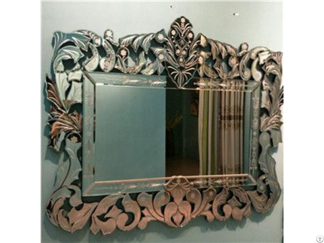 Etched Rectangular Delicate Devorative Wall Mirror For Livingroom Bathroom Dining Room