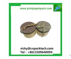 Bespoke Natural Brown Kraft Round Hat Cardboard Paper Jewelry Box