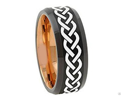 Tungsten Carbide Two Tone Celtic Wedding Band Ring