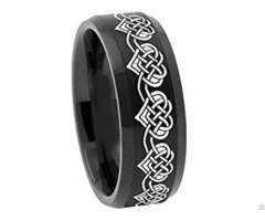 Black Tungsten Carbide Heart Wedding Band Ring