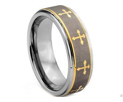 Tungsten Carbide Cross Wedding Band Ring