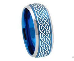 Blue Tungsten Carbide Celtic Wedding Band Ring