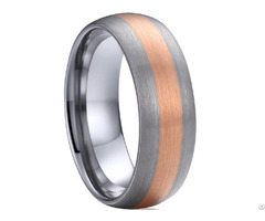 Tungsten Carbide Wedding Band Ring With Rose Color Plating