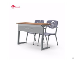 University School Classroom Wooden Double Desk And Chair