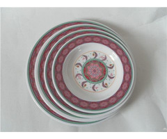 Custom Full Print 4pcs Melamine Deep Round Plate Dish
