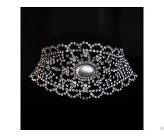 Dark Plated Filigree Crystal Rhinestone Cup Chain Collar Choker Necklaces Fashion Jewelry