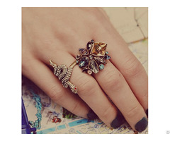 Factory Making Antique Silver Elastic Band Crystal Women Finger Ring Fashion Jewelry