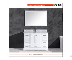 Floor Mounted White Lacquer 48 Inch Wide Bathroom Vanity T9311 48w With Mirror