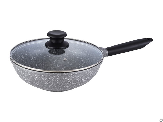 Diecasting Aluminum Grey Marble Coating Pallas Wok With Glass Lid
