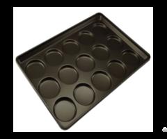 Cs Teflon Coating Non Stick 3 5 And 4 Al Steel Hamburger Bun Pan 15 Molds