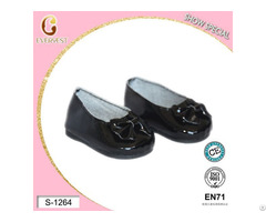 Leather Black Doll Shoes For Girl