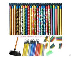 Color Wooden Broom Brush Mop Handle Pvc Cap