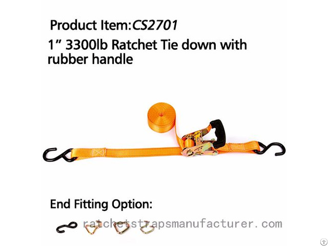 Cs2701 1 3300lbs Ratchet Tie Down With Rubber Handle
