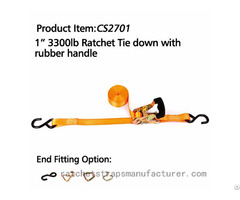 Cs2701 1 3300lbs Ratchet Tie Down With Rubber Handle