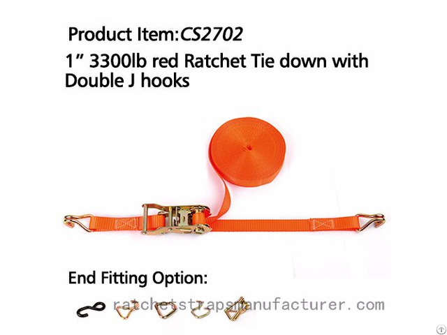 Cs2702 1 3300lbs Red Ratchet Tie Down With Double J Hooks