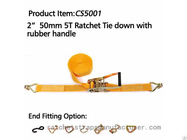 Wdcs020501 2 50mm 5t Ratchet Tie Down With Rubber Handle