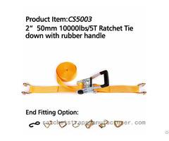 "Cs5003 2"" 50mm 1000lbs 5t Ratchet Tie Down With Rubber Handle"