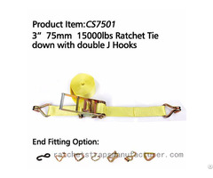 Cs7501 3 75mm 15000lbs Ratchet Tie Down With Double J Hooks