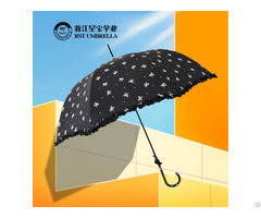 Rst Fashion Bowknot Lace Women Long Compact Umbrella